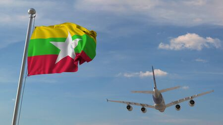 Airplane flying over flag of Myanmar. Myanma tourism related 3D rendering