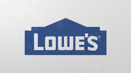 Breaking wall with painted logo of Lowes. Crisis related editorial 3D rendering Editorial