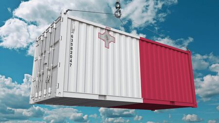 Container with flag of Malta. Maltese import or export related conceptual 3D rendering 免版税图像