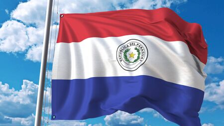 National flag of Paraguay on sky background. 3D rendering Stok Fotoğraf