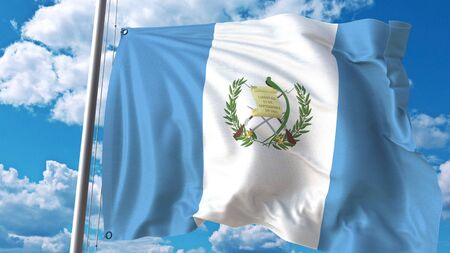 Waving flag of Guatemala on sky background. 3D rendering Banque d'images