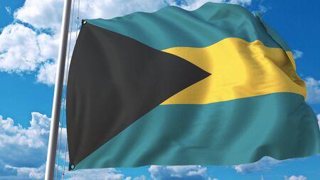 Flying flag of Bahamas on sky background. 3D rendering