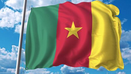 National flag of Cameroon on sky background. 3D rendering