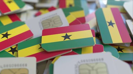 Many SIM cards with flag of Ghana. Ghanaian mobile telecommunications related 3D rendering 版權商用圖片