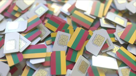 Many SIM cards with flag of Lithuania. Lithuanian mobile telecommunications related 3D rendering