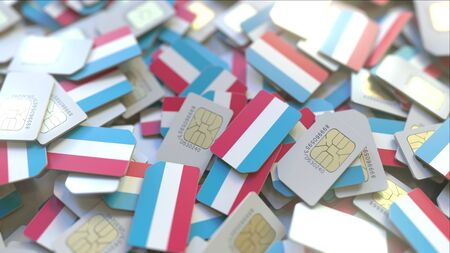 Many SIM cards with flag of Luxembourg. Luxembourgian mobile telecommunications related 3D rendering