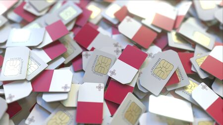 Many SIM cards with flag of Malta. Maltese mobile telecommunications related 3D rendering