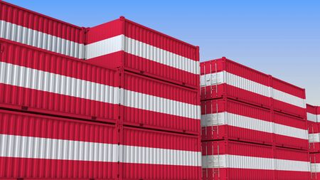 Container yard full of containers with flag of Austria. Austrian export or import related 3D rendering 免版税图像