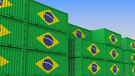 Container terminal full of containers with flag of Brazil. Brazilian export or import related 3D rendering