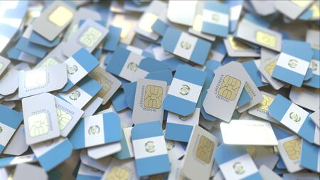 Many SIM cards with flag of Guatemala. Guatemalan mobile telecommunications related 3D rendering
