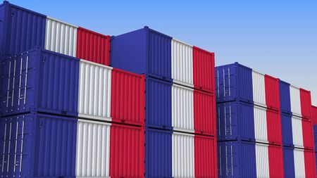Container yard full of containers with flag of France. French export or import related 3D rendering