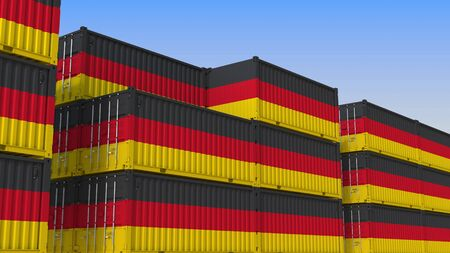 Container terminal full of containers with flag of Germany. German export or import related 3D rendering