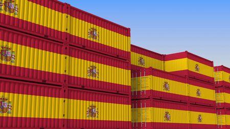 Plac kontenerowy pełen kontenerów z flagą Hiszpanii. Hiszpański rendering 3D związany z eksportem lub importem