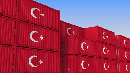 Container yard full of containers with flag of Turkey. Turkish export or import related 3D rendering