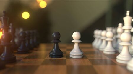 Chess game. The first two pawn moves. Chessboard close-up, realistic 3D rendering