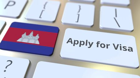 APPLY FOR VISA text and flag of Cambodia on the buttons on the computer keyboard. Conceptual 3D rendering