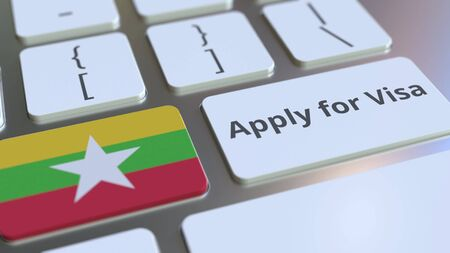APPLY FOR VISA text and flag of Myanmar on the buttons on the computer keyboard. Conceptual 3D rendering