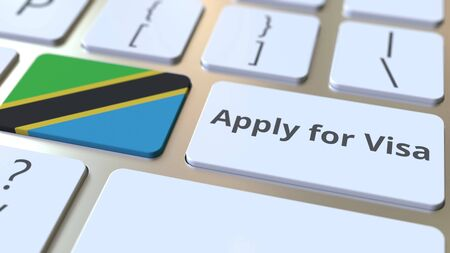 APPLY FOR VISA text and flag of Tanzania on the buttons on the computer keyboard. Conceptual 3D rendering