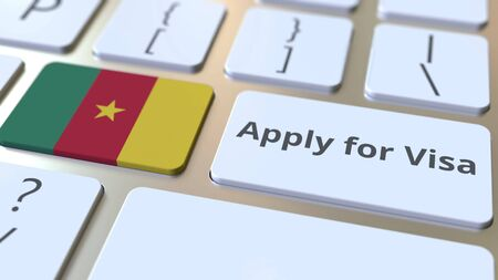 APPLY FOR VISA text and flag of Cameroon on the buttons on the computer keyboard. Conceptual 3D rendering