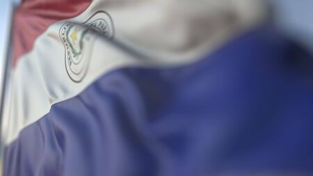 Waving flag of Paraguay, shallow focus close-up. Realistic 3D rendering
