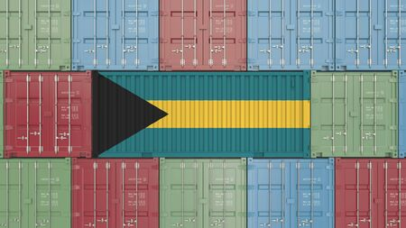 Container with flag of the Bahamas. Bahamian goods related conceptual 3D rendering