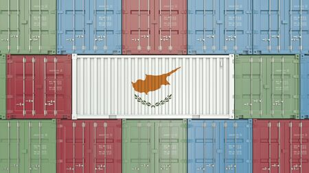 Container with flag of Cyprus. Cypriot goods related conceptual 3D rendering