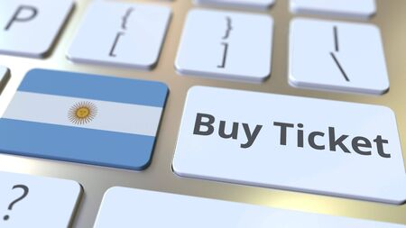 BUY TICKET text and flag of Argentina on the buttons on the computer keyboard. Travel related conceptual 3D rendering