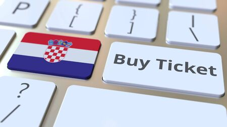BUY TICKET text and flag of Croatia on the buttons on the computer keyboard. Travel related conceptual 3D rendering
