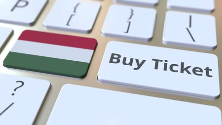 BUY TICKET text and flag of Hungary on the buttons on the computer keyboard. Travel related conceptual 3D rendering