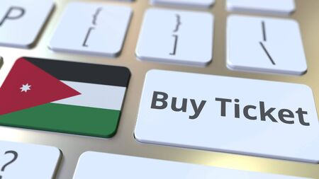 BUY TICKET text and flag of Jordan on the buttons on the computer keyboard. Travel related conceptual 3D rendering