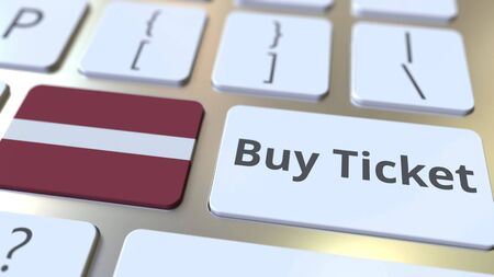 BUY TICKET text and flag of Latvia on the buttons on the computer keyboard. Travel related conceptual 3D rendering