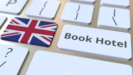 BOOK HOTEL text and flag of Great Britain on the buttons on the computer keyboard. Travel related conceptual 3D rendering Imagens