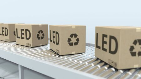 Cartons with LED lighting equipment on roller conveyor. 3D rendering