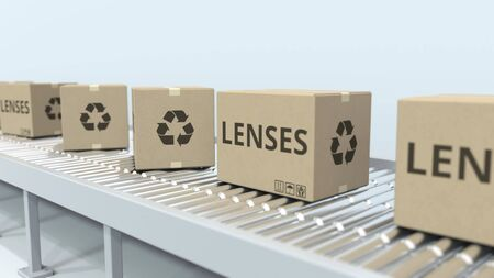 Cartons with lenses on roller conveyor. 3D rendering