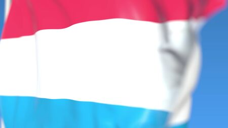 Flying national flag of Luxembourg close-up, 3D rendering