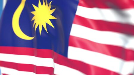 Flying national flag of Malaysia close-up, 3D rendering Stock Photo