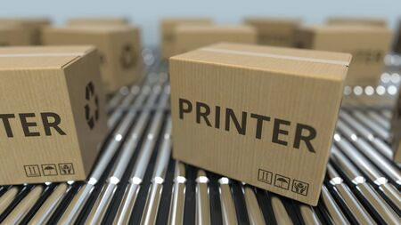 Cartons with printers on roller conveyors. 3D rendering