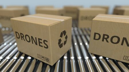 Cartons with drones on roller conveyors. 3D rendering