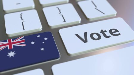 VOTE text and flag of Australia on the buttons on the computer keyboard. Election related conceptual 3D rendering
