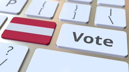 VOTE text and flag of Austria on the buttons on the computer keyboard. Election related conceptual 3D rendering
