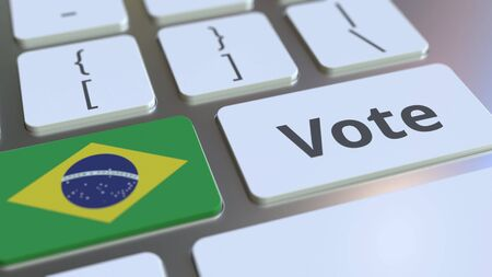VOTE text and flag of Brazil on the buttons on the computer keyboard. Election related conceptual 3D rendering