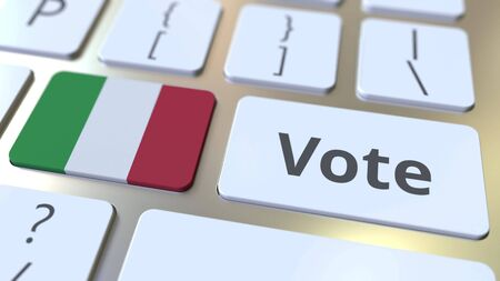 VOTE text and flag of Italy on the buttons on the computer keyboard. Election related conceptual 3D rendering 免版税图像
