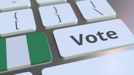 VOTE text and flag of Nigeria on the buttons on the computer keyboard. Election related conceptual 3D rendering