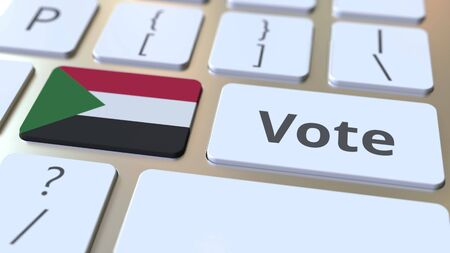 VOTE text and flag of Sudan on the buttons on the computer keyboard. Election related conceptual 3D rendering