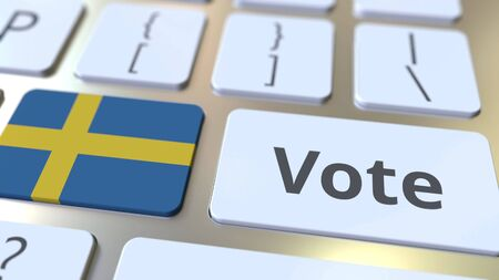 VOTE text and flag of Sweden on the buttons on the computer keyboard. Election related conceptual 3D rendering