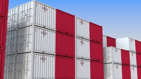 Container terminal full of containers with flag of Malta. Maltese export or import related 3D rendering