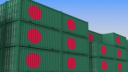 Container terminal full of containers with flag of Bangladesh. Bangladeshi export or import related 3D rendering Stock Photo