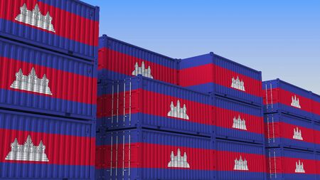 Container yard full of containers with flag of Cambodia. Cambodian export or import related 3D rendering