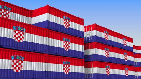 Container yard full of containers with flag of Croatia. Croatian export or import related 3D rendering