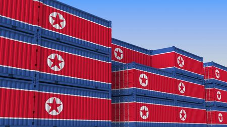 Container yard full of containers with flag of North Korea. Export or import related 3D rendering